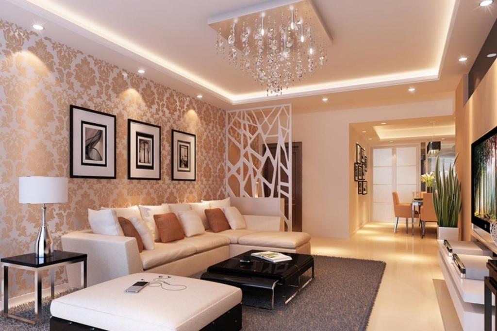 Hình ảnh phòng khách sử dụng đèn chùm đơn giản